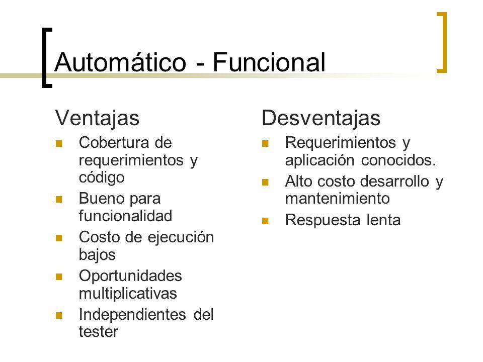 Automático - Funcional Ventajas Cobertura de requerimientos y código Bueno para funcionalidad Costo de ejecución bajos Oportunidades multiplicativas Independientes del tester Desventajas Requerimientos y aplicación conocidos.