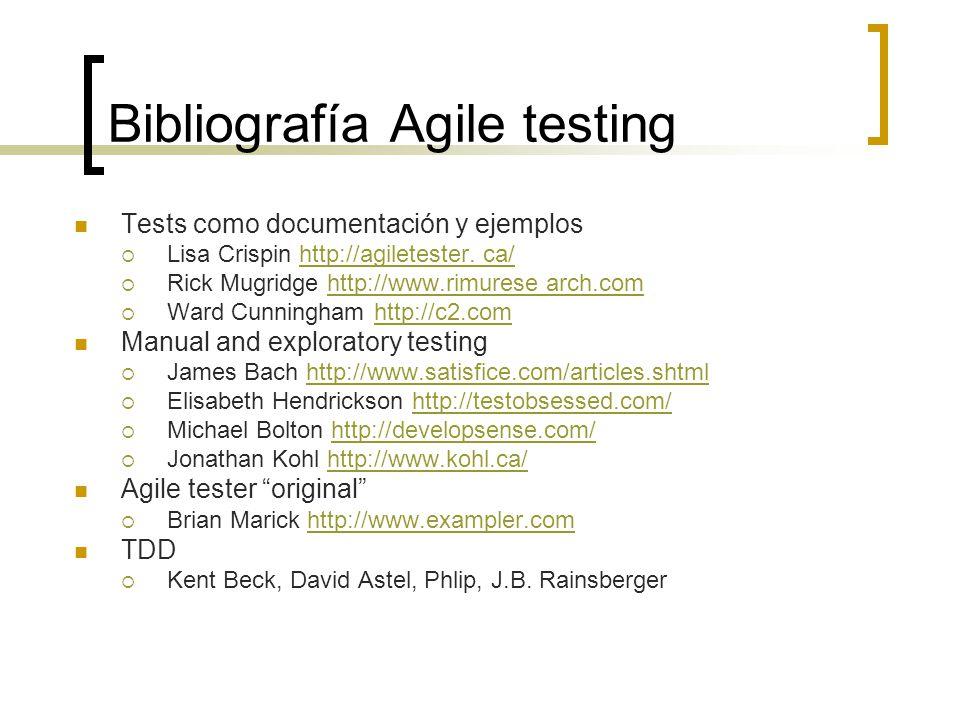 Bibliografía Agile testing Tests como documentación y ejemplos  Lisa Crispin http://agiletester.