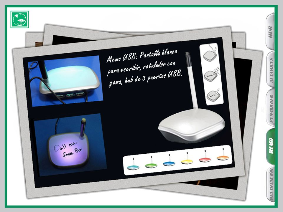 MEMO PEN-HOLDER ALTAVOCES HUB MULTIFUNCIÓN Memo USB: Pantalla blanca para escribir, rotulador con goma, hub de 3 puertos USB.