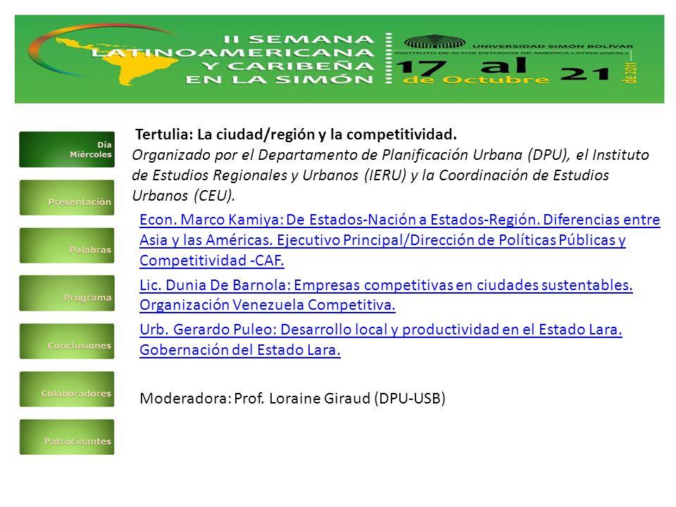 Tertulia: La ciudad/región y la competitividad.