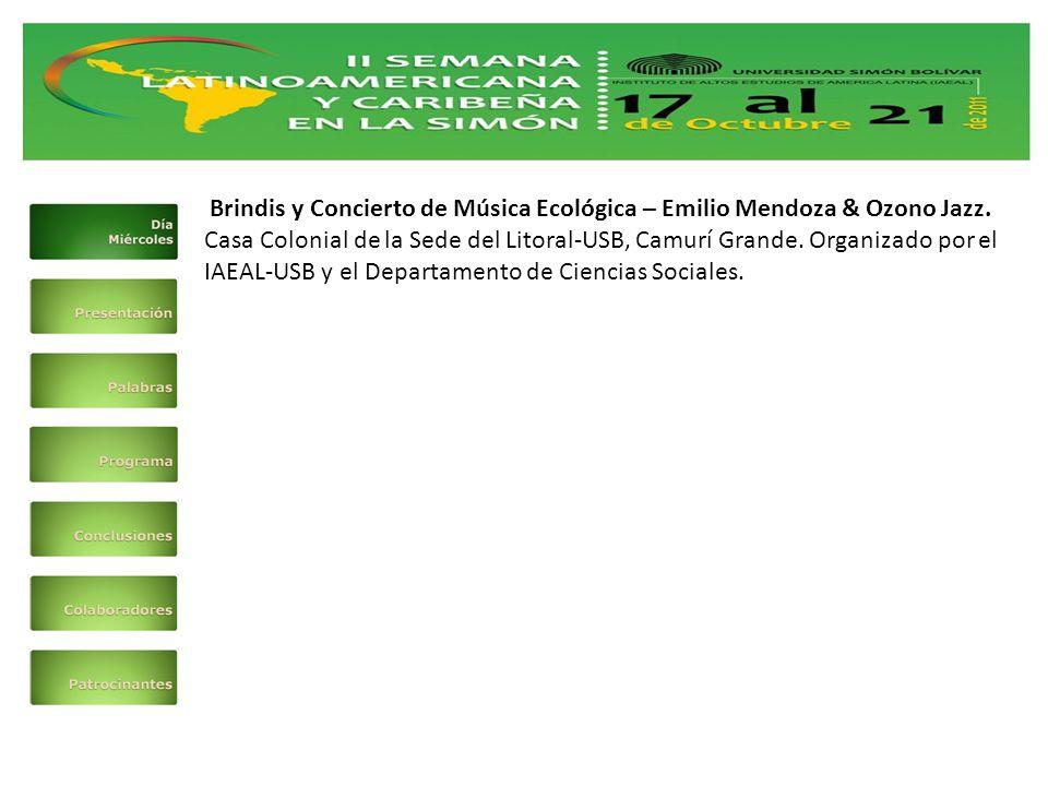 Brindis y Concierto de Música Ecológica – Emilio Mendoza & Ozono Jazz.