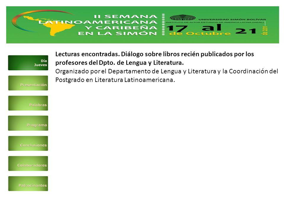 Lecturas encontradas. Diálogo sobre libros recién publicados por los profesores del Dpto.