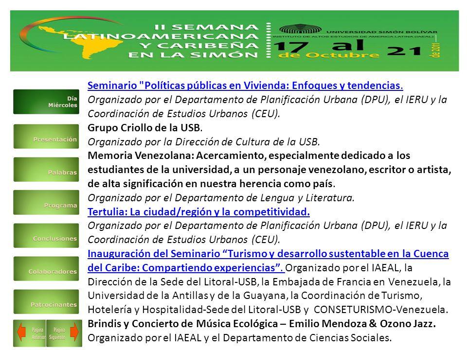 Seminario Políticas públicas en Vivienda: Enfoques y tendencias.