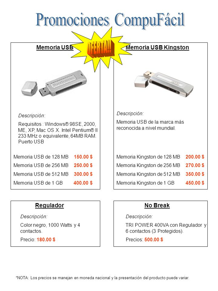 Memoria USB Descripción: Requisitos : Windows® 98SE, 2000, ME, XP, Mac OS X.