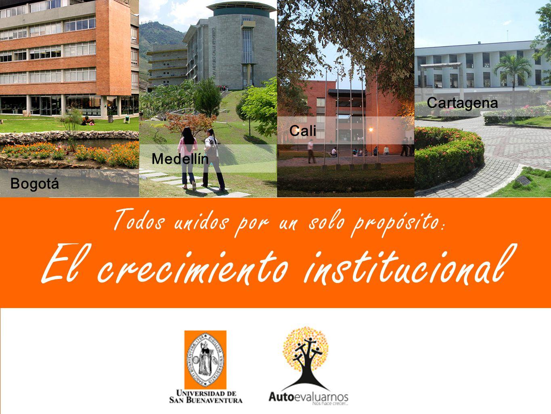 El crecimiento institucional Bogotá Medellín Cali Cartagena Todos unidos por un solo propósito :