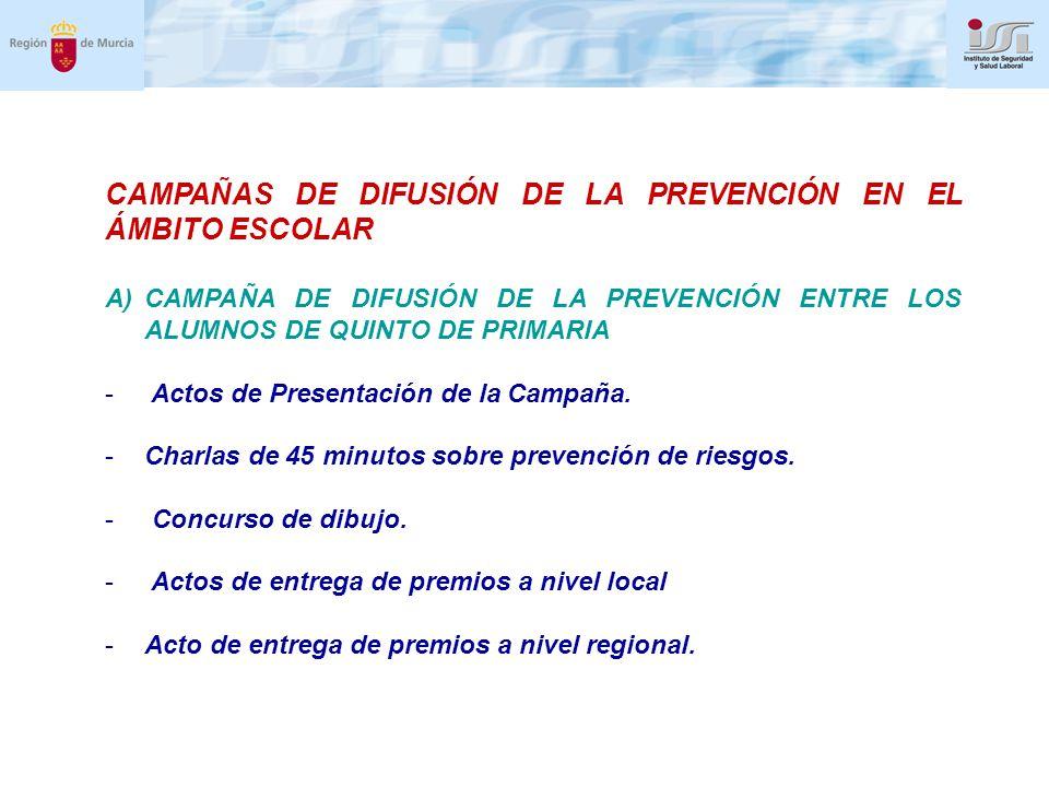 CAMPAÑAS DE DIFUSIÓN DE LA PREVENCIÓN EN EL ÁMBITO ESCOLAR A)CAMPAÑA DE DIFUSIÓN DE LA PREVENCIÓN ENTRE LOS ALUMNOS DE QUINTO DE PRIMARIA - Actos de Presentación de la Campaña.