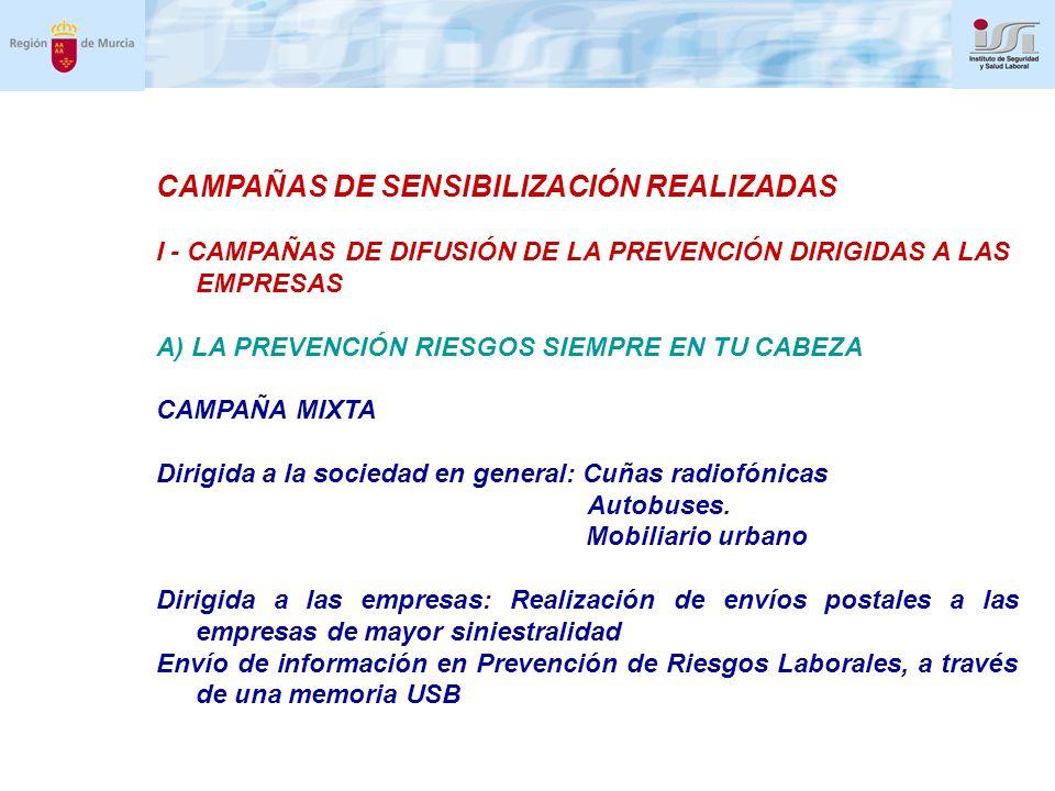 CAMPAÑAS DE SENSIBILIZACIÓN REALIZADAS I - CAMPAÑAS DE DIFUSIÓN DE LA PREVENCIÓN DIRIGIDAS A LAS EMPRESAS A) LA PREVENCIÓN RIESGOS SIEMPRE EN TU CABEZA CAMPAÑA MIXTA Dirigida a la sociedad en general: Cuñas radiofónicas Autobuses.