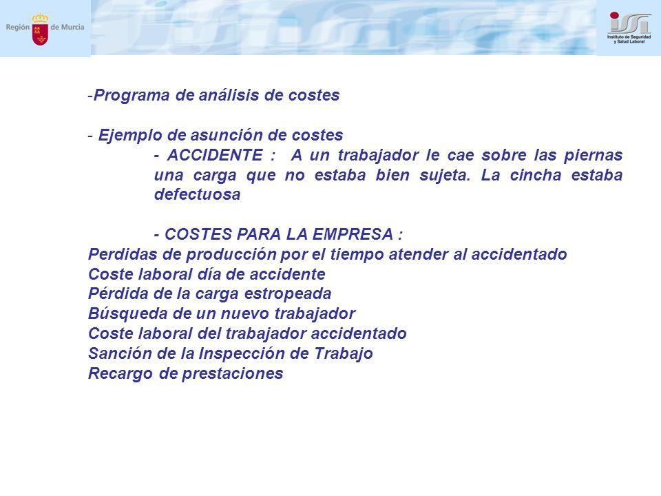 -Programa de análisis de costes - Ejemplo de asunción de costes - ACCIDENTE : A un trabajador le cae sobre las piernas una carga que no estaba bien sujeta.