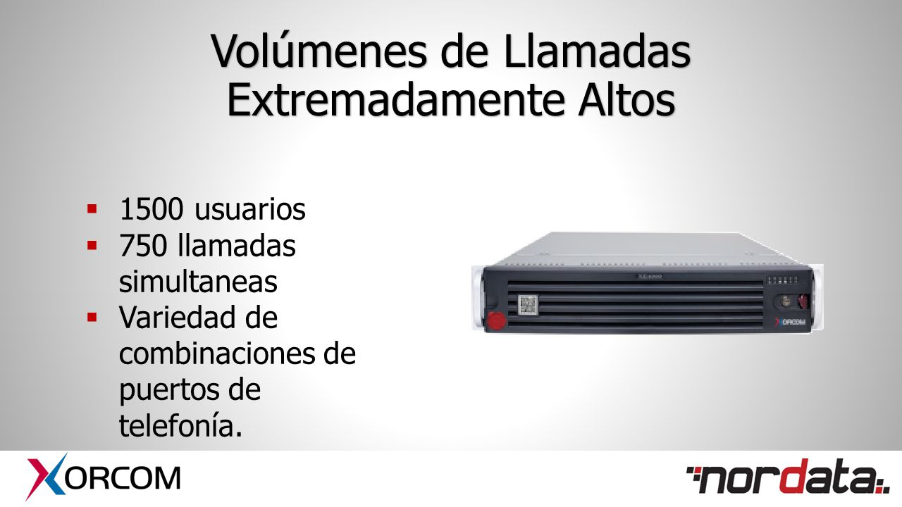 Volúmenes de Llamadas Extremadamente Altos  1500 usuarios  750 llamadas simultaneas  Variedad de combinaciones de puertos de telefonía.