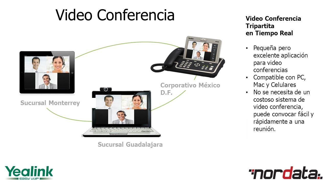 Video Conferencia Video Conferencia Tripartita en Tiempo Real Pequeña pero excelente aplicación para video conferencias Compatible con PC, Mac y Celulares No se necesita de un costoso sistema de video conferencia, puede convocar fácil y rápidamente a una reunión.