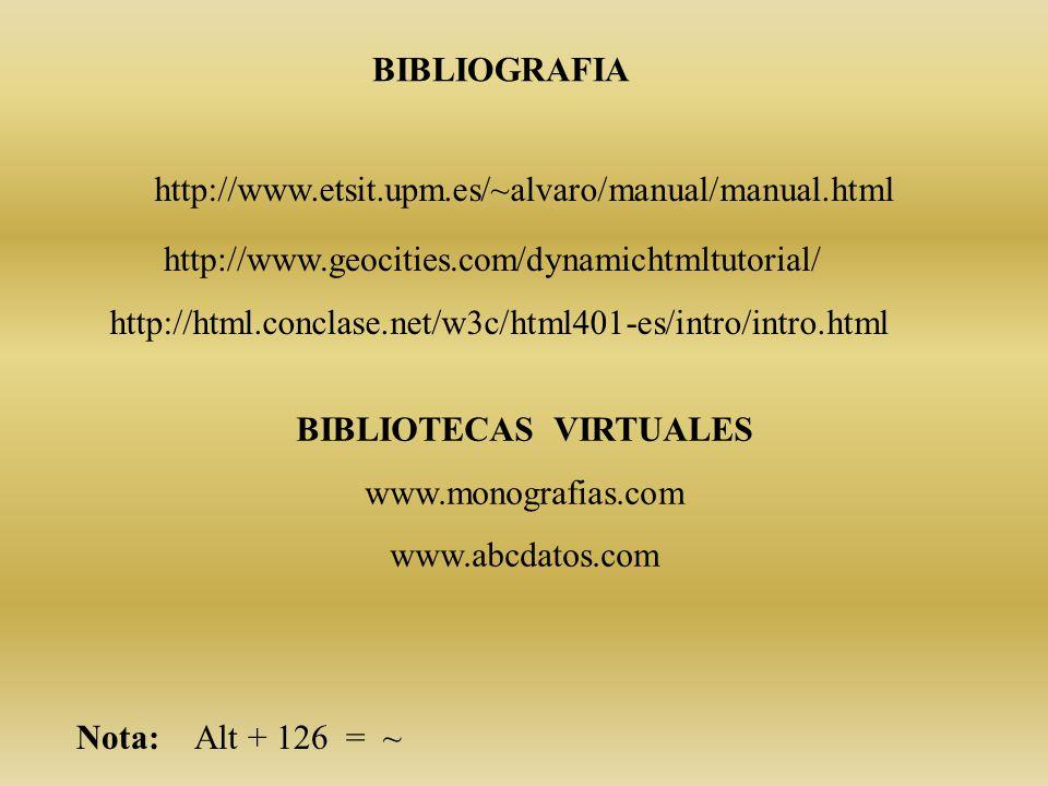 BIBLIOGRAFIA BIBLIOTECAS VIRTUALES www.monografias.com www.abcdatos.com http://www.etsit.upm.es/~alvaro/manual/manual.html http://www.geocities.com/dynamichtmltutorial/ Nota: Alt + 126 = ~ http://html.conclase.net/w3c/html401-es/intro/intro.html