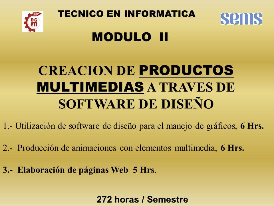 CREACION DE PRODUCTOS MULTIMEDIAS A TRAVES DE SOFTWARE DE DISEÑO MODULO II TECNICO EN INFORMATICA 1.- Utilización de software de diseño para el manejo de gráficos, 6 Hrs.