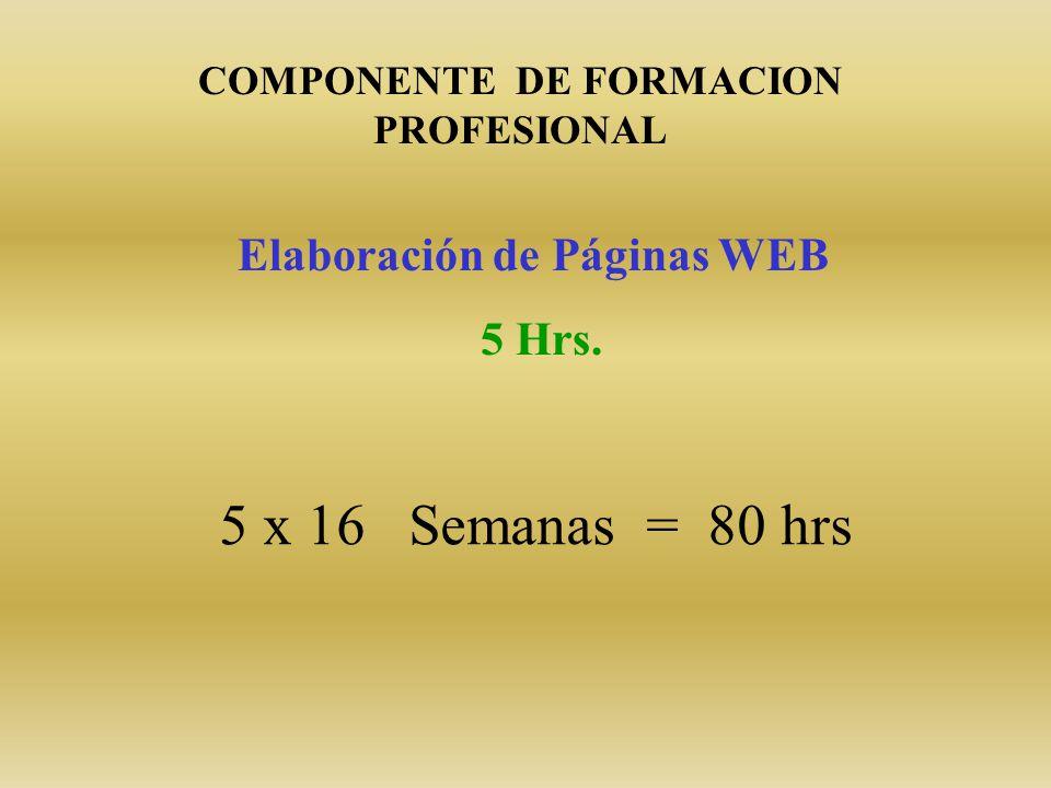 Elaboración de Páginas WEB 5 Hrs. COMPONENTE DE FORMACION PROFESIONAL 5 x 16 Semanas = 80 hrs