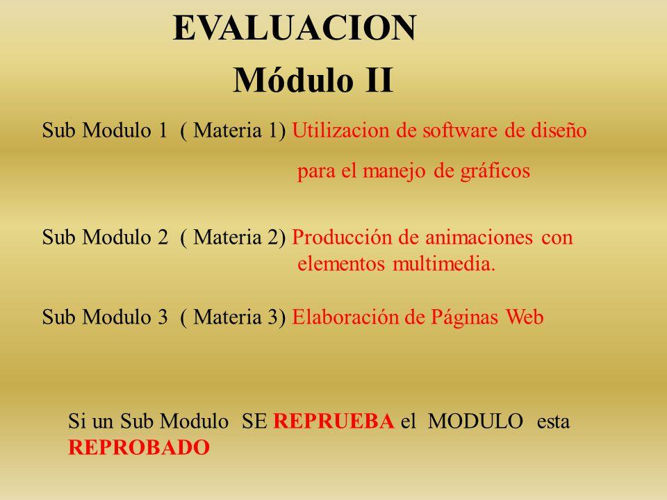 Módulo II Sub Modulo 1 ( Materia 1) Utilizacion de software de diseño para el manejo de gráficos Sub Modulo 2 ( Materia 2) Producción de animaciones con elementos multimedia.