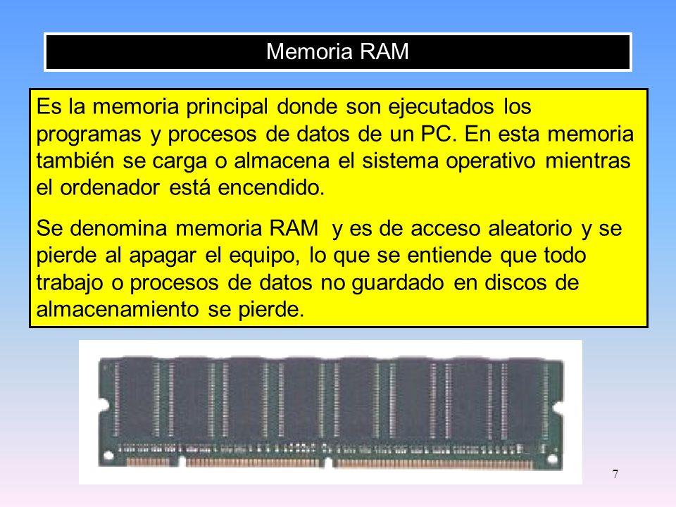 6 Memoria Caché Microprocesador Memoria RAM La memoria caché se sitúa entre el microprocesador y la memoria RAM y se utiliza para almacenar datos que se usan frecuentemente.