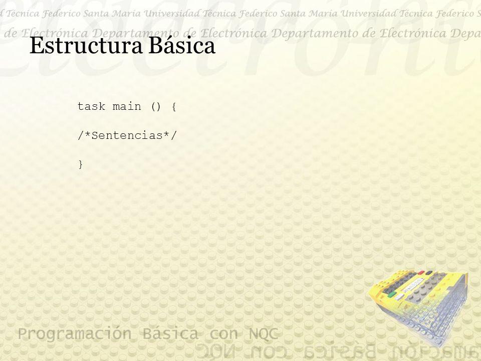 Estructura Básica task main () { /*Sentencias*/ }