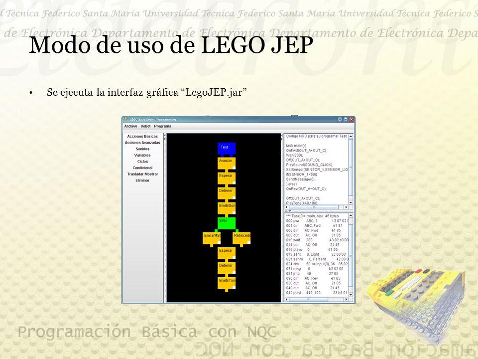 Modo de uso de LEGO JEP Se ejecuta la interfaz gráfica LegoJEP.jar