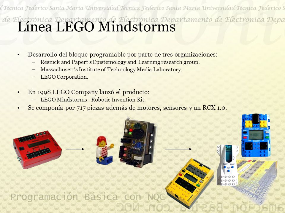 Línea LEGO Mindstorms Desarrollo del bloque programable por parte de tres organizaciones: –Resnick and Papert's Epistemology and Learning research group.
