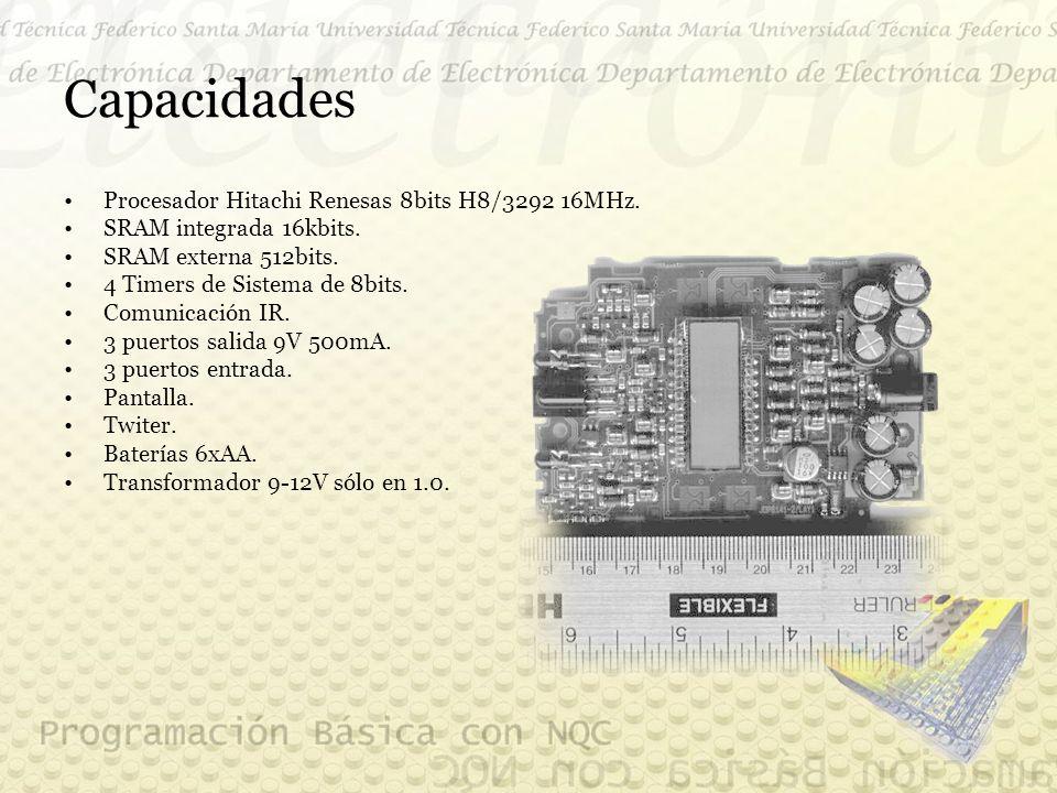 Capacidades Procesador Hitachi Renesas 8bits H8/3292 16MHz.