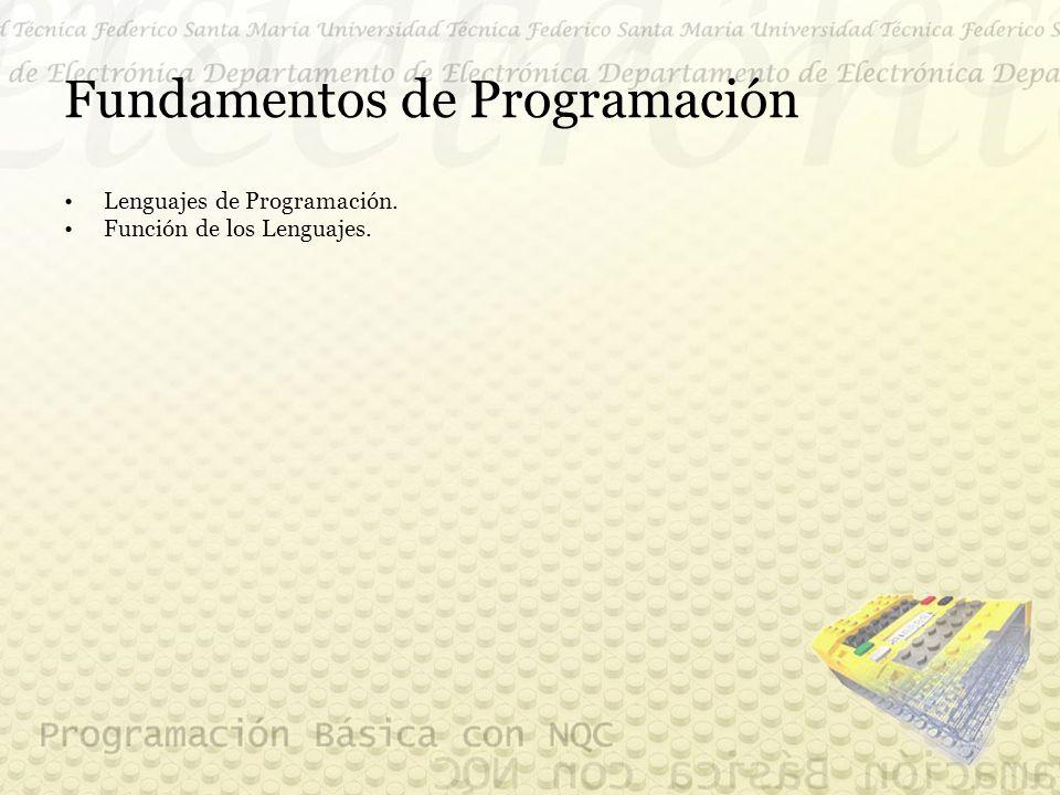 Fundamentos de Programación Lenguajes de Programación. Función de los Lenguajes.