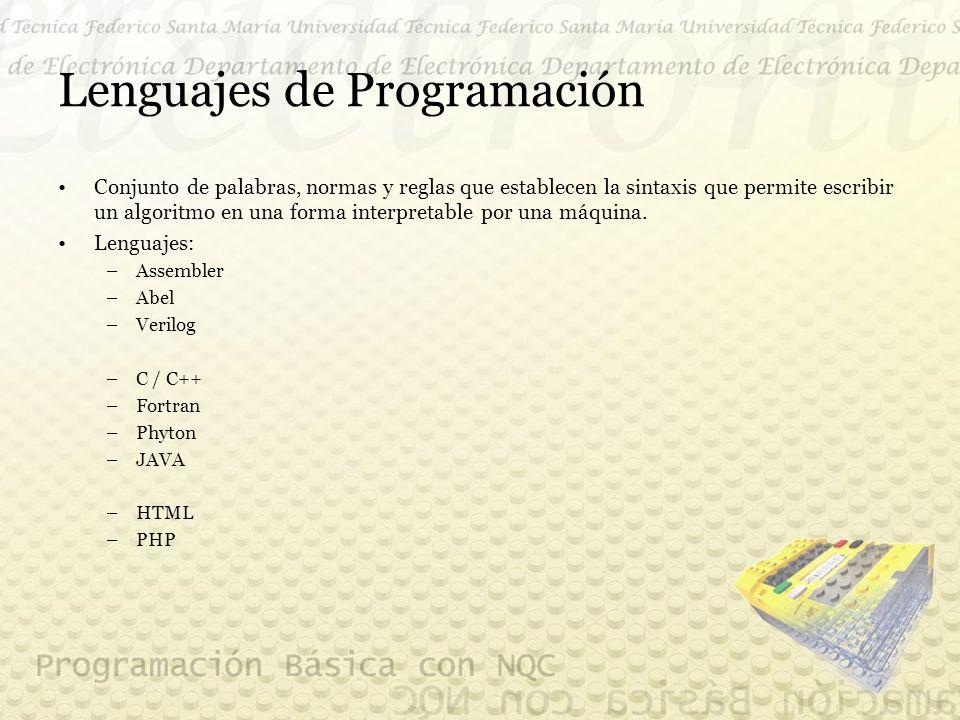 Lenguajes de Programación Conjunto de palabras, normas y reglas que establecen la sintaxis que permite escribir un algoritmo en una forma interpretable por una máquina.
