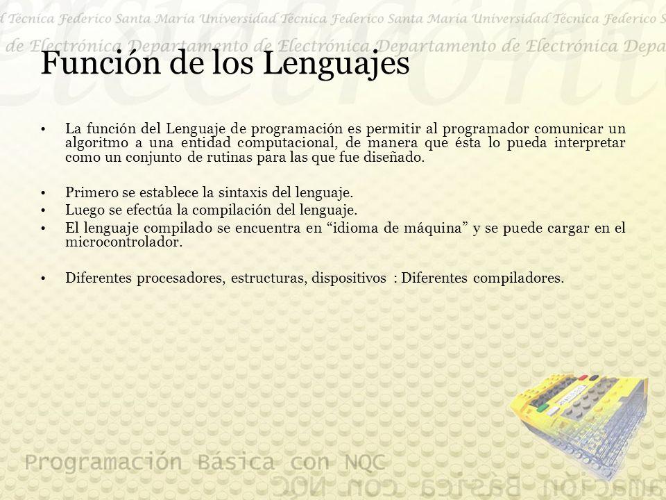Función de los Lenguajes La función del Lenguaje de programación es permitir al programador comunicar un algoritmo a una entidad computacional, de manera que ésta lo pueda interpretar como un conjunto de rutinas para las que fue diseñado.