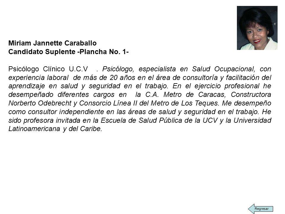 Miriam Jannette Caraballo Candidato Suplente -Plancha No.