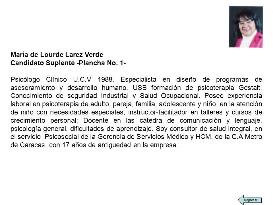 María de Lourde Larez Verde Candidato Suplente -Plancha No.
