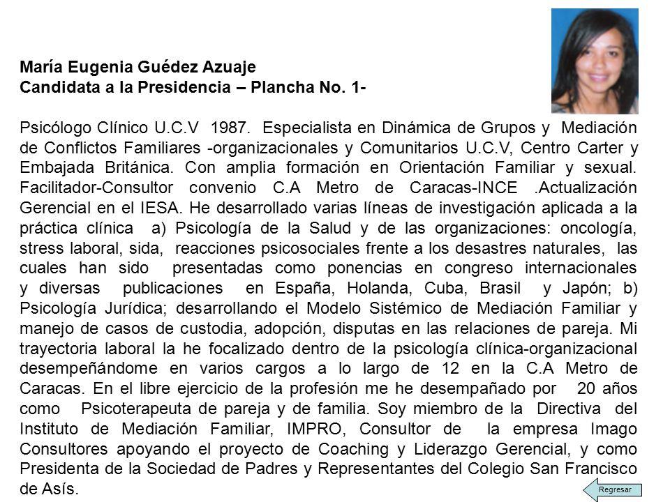 María Eugenia Guédez Azuaje Candidata a la Presidencia – Plancha No.