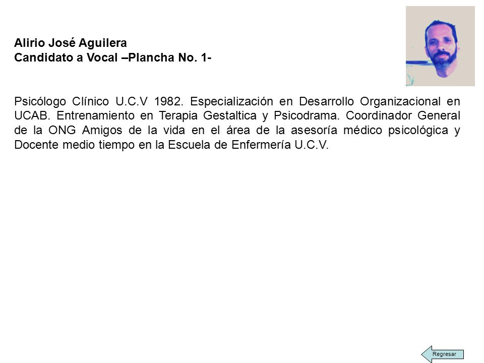 Alirio José Aguilera Candidato a Vocal –Plancha No.