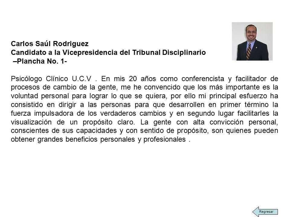 Carlos Saúl Rodriguez Candidato a la Vicepresidencia del Tribunal Disciplinario –Plancha No.