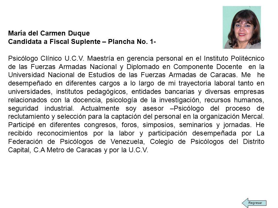 María del Carmen Duque Candidata a Fiscal Suplente – Plancha No.