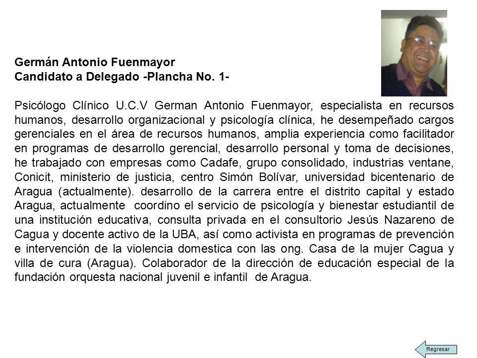 Germán Antonio Fuenmayor Candidato a Delegado -Plancha No.