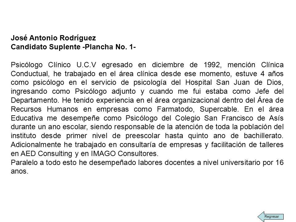 José Antonio Rodríguez Candidato Suplente -Plancha No.