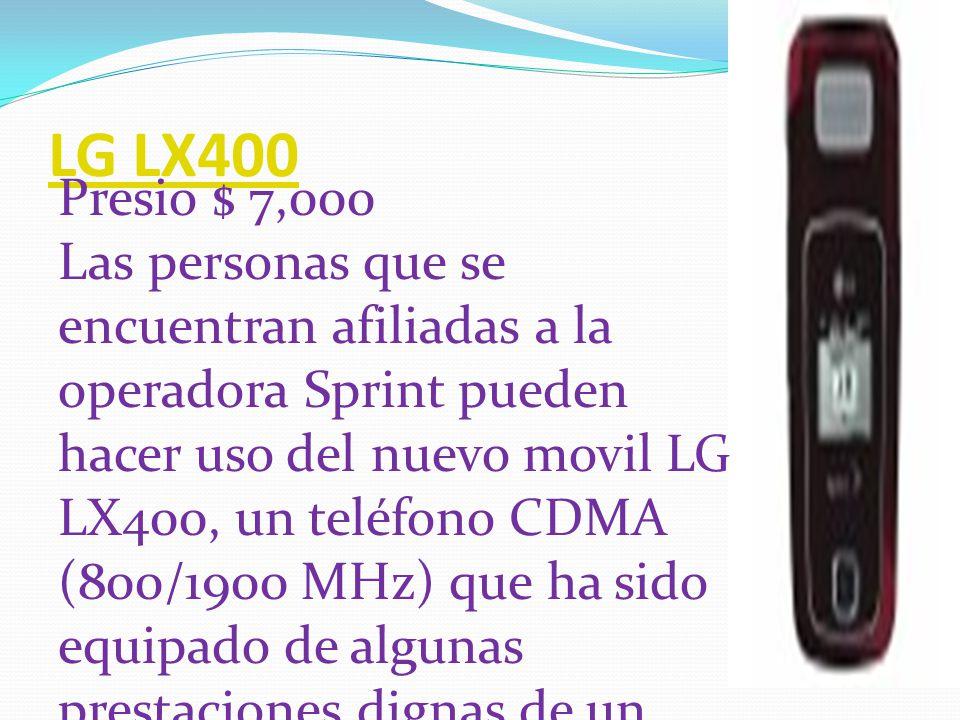LG KT610 Presio $ 15,000 El LG KT610 tiene exelentes funciones de conectividad y esta especialmente diseñado para tener una buena experiencia navegando por internet, viene con varias aplicaciones de Google pre cargadas, reproduce MP3, tiene GPS integrado,una cámara de 2MP y otra secundaria para vídeo llamadas.