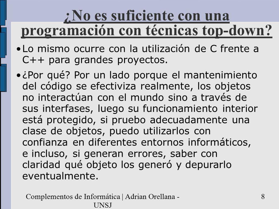 Complementos de Informática | Adrian Orellana - UNSJ 8 ¿No es suficiente con una programación con técnicas top-down.