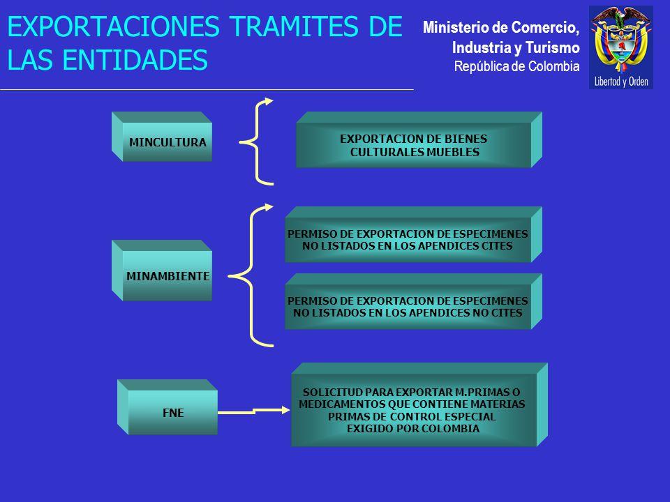 Ministerio de Comercio, Industria y Turismo República de Colombia MINCULTURA MINAMBIENTE PERMISO DE EXPORTACION DE ESPECIMENES NO LISTADOS EN LOS APENDICES CITES PERMISO DE EXPORTACION DE ESPECIMENES NO LISTADOS EN LOS APENDICES NO CITES EXPORTACION DE BIENES CULTURALES MUEBLES FNE SOLICITUD PARA EXPORTAR M.PRIMAS O MEDICAMENTOS QUE CONTIENE MATERIAS PRIMAS DE CONTROL ESPECIAL EXIGIDO POR COLOMBIA EXPORTACIONES TRAMITES DE LAS ENTIDADES