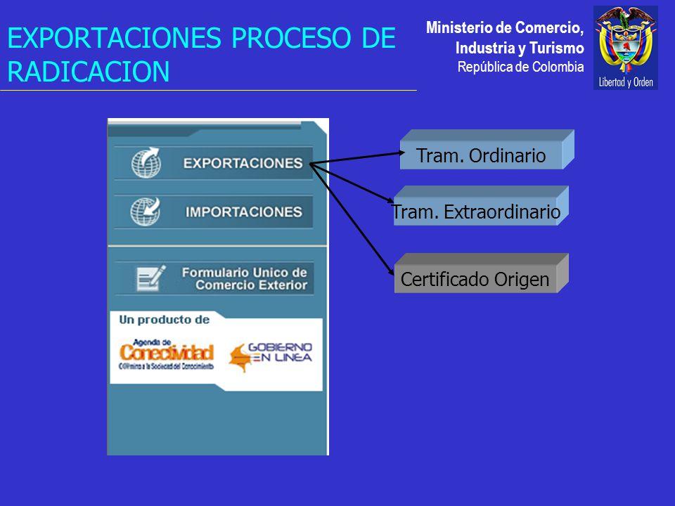 Ministerio de Comercio, Industria y Turismo República de Colombia EXPORTACIONES PROCESO DE RADICACION Certificado Origen Tram.