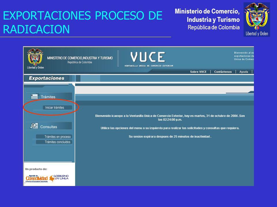 Ministerio de Comercio, Industria y Turismo República de Colombia EXPORTACIONES PROCESO DE RADICACION
