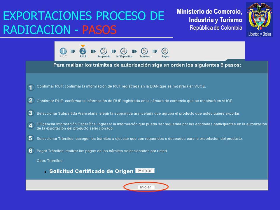 Ministerio de Comercio, Industria y Turismo República de Colombia EXPORTACIONES PROCESO DE RADICACION - PASOS