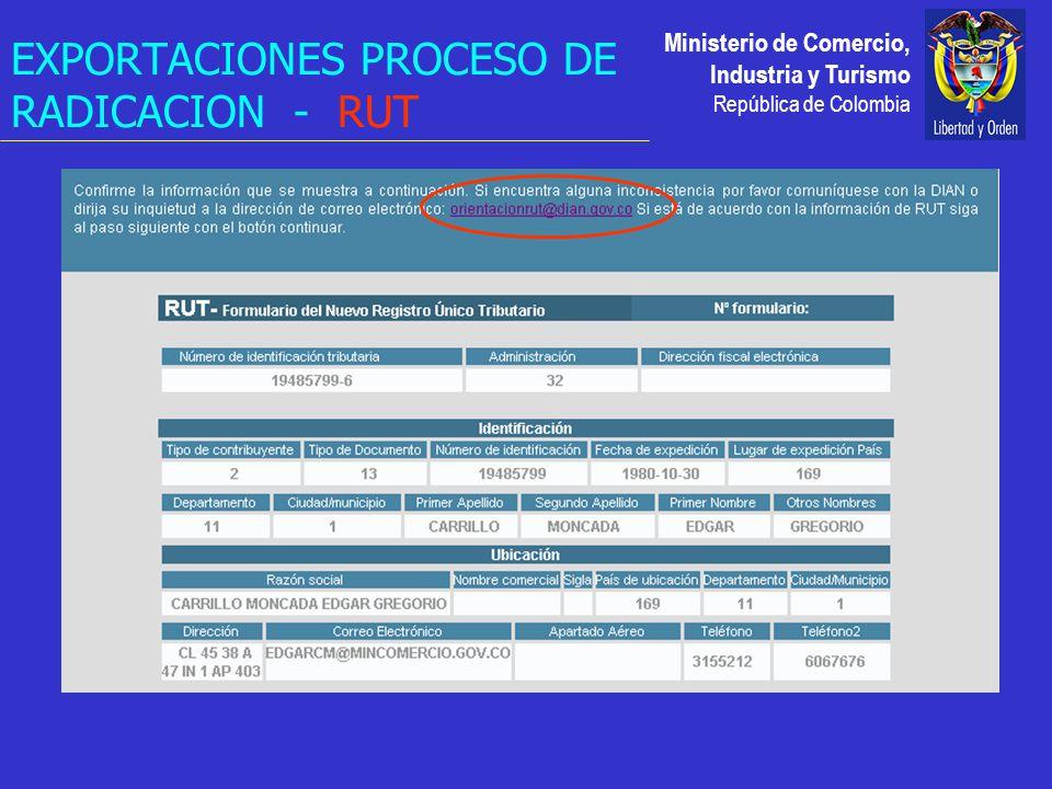 Ministerio de Comercio, Industria y Turismo República de Colombia EXPORTACIONES PROCESO DE RADICACION - RUT