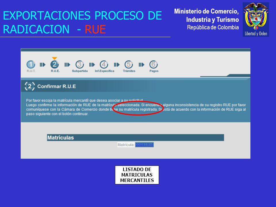 Ministerio de Comercio, Industria y Turismo República de Colombia EXPORTACIONES PROCESO DE RADICACION - RUE LISTADO DE MATRICULAS MERCANTILES