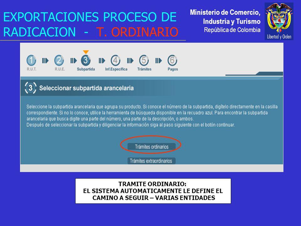 Ministerio de Comercio, Industria y Turismo República de Colombia EXPORTACIONES PROCESO DE RADICACION - T.