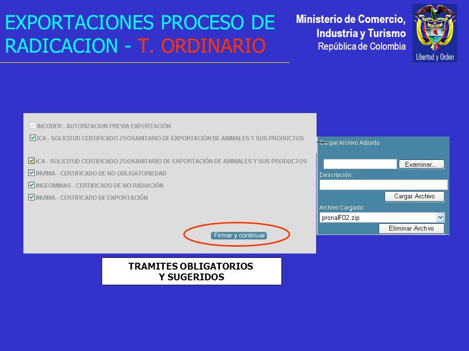 Ministerio de Comercio, Industria y Turismo República de Colombia TRAMITES OBLIGATORIOS Y SUGERIDOS EXPORTACIONES PROCESO DE RADICACION - T.