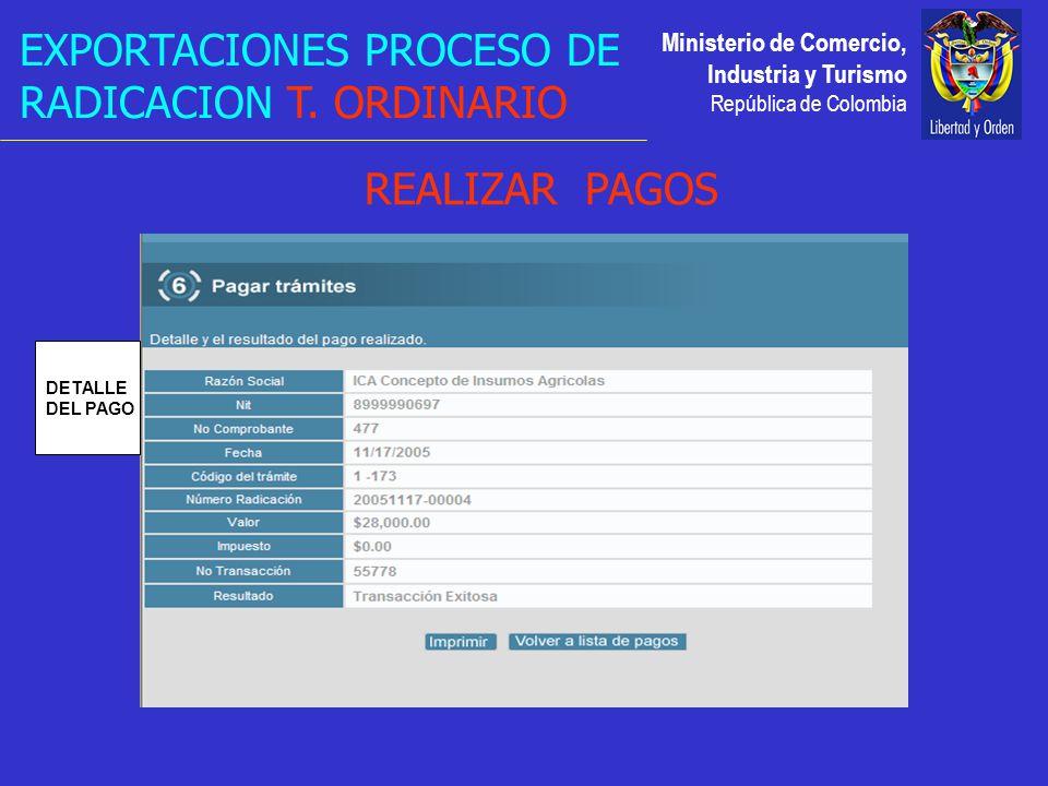 Ministerio de Comercio, Industria y Turismo República de Colombia DETALLE DEL PAGO EXPORTACIONES PROCESO DE RADICACION T.
