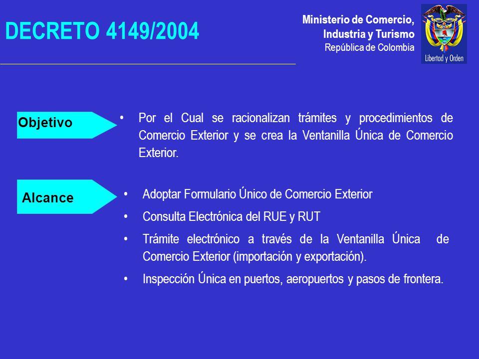 Ministerio de Comercio, Industria y Turismo República de Colombia DECRETO 4149/2004 Objetivo Alcance Adoptar Formulario Único de Comercio Exterior Consulta Electrónica del RUE y RUT Trámite electrónico a través de la Ventanilla Única de Comercio Exterior (importación y exportación).