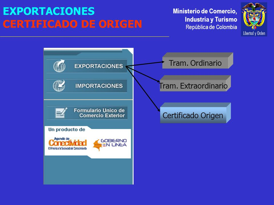 Ministerio de Comercio, Industria y Turismo República de Colombia Certificado Origen Tram.