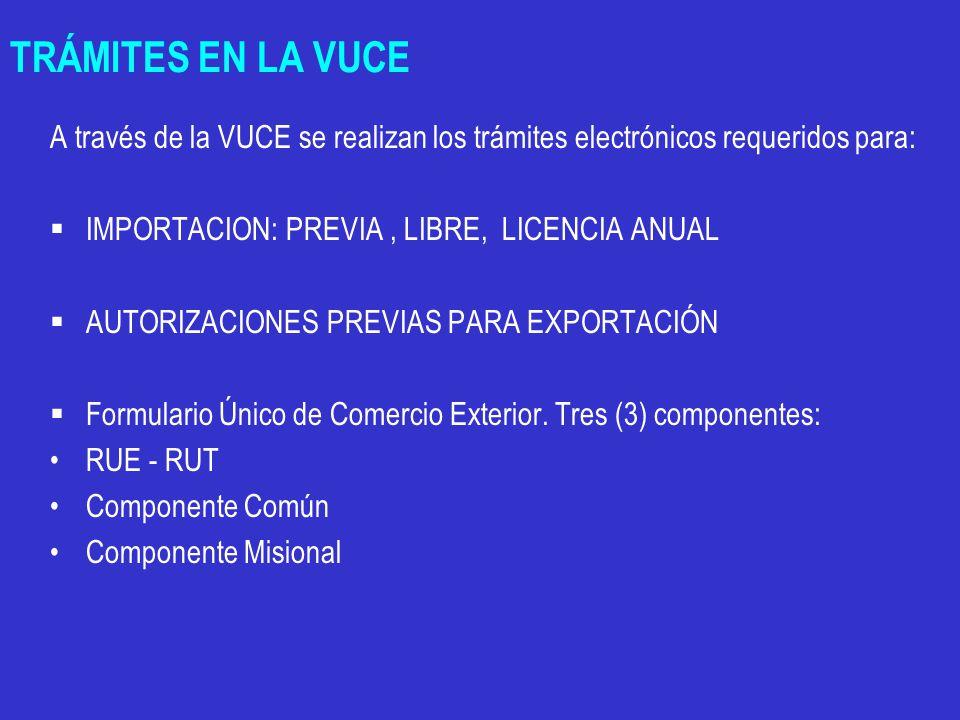 TRÁMITES EN LA VUCE A través de la VUCE se realizan los trámites electrónicos requeridos para:  IMPORTACION: PREVIA, LIBRE, LICENCIA ANUAL  AUTORIZACIONES PREVIAS PARA EXPORTACIÓN  Formulario Único de Comercio Exterior.