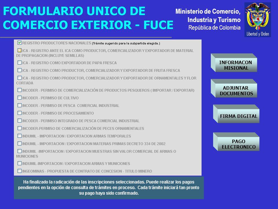 Ministerio de Comercio, Industria y Turismo República de Colombia FIRMA DIGITAL PAGO ELECTRONICO INFORMACON MISIONAL ADJUNTAR DOCUMENTOS FORMULARIO UNICO DE COMERCIO EXTERIOR - FUCE