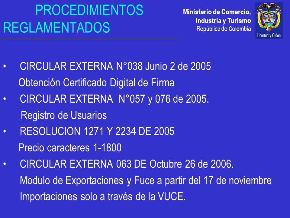 Ministerio de Comercio, Industria y Turismo República de Colombia PROCEDIMIENTOS REGLAMENTADOS CIRCULAR EXTERNA N°038 Junio 2 de 2005 Obtención Certificado Digital de Firma CIRCULAR EXTERNA N°057 y 076 de 2005.